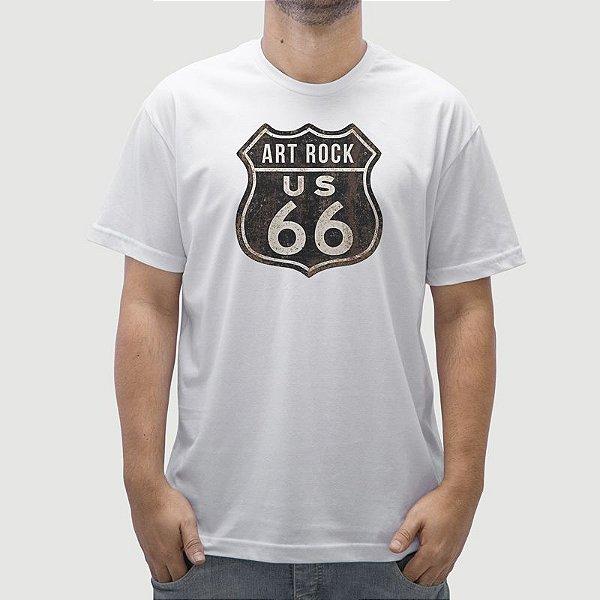 Camiseta Placa US 66 Branca.