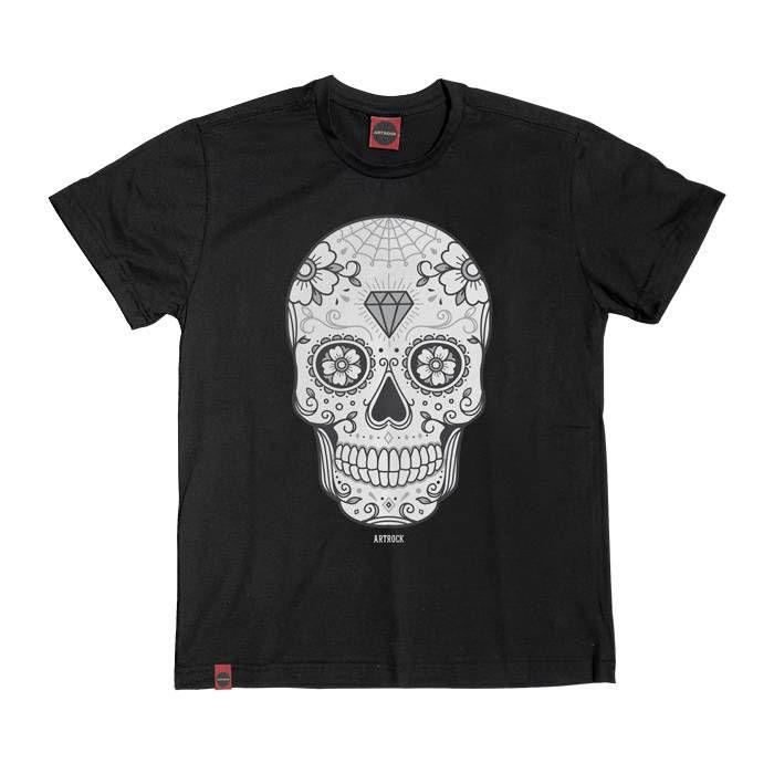 Camiseta Plus Size Caveira Mexicana 2 Preta.