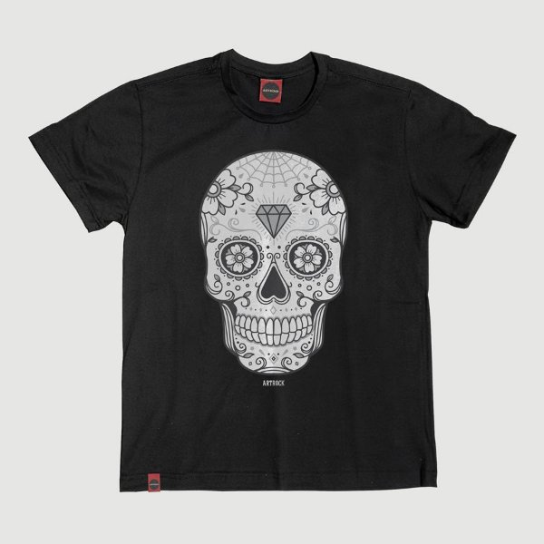 Camiseta Juvenil Caveira Mexicana 2 Preta.
