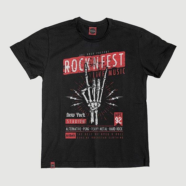 Camiseta Juvenil Rock Fest Preta.