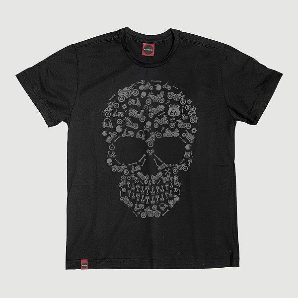 Camiseta Juvenil Caveira Moto Icon Preta.