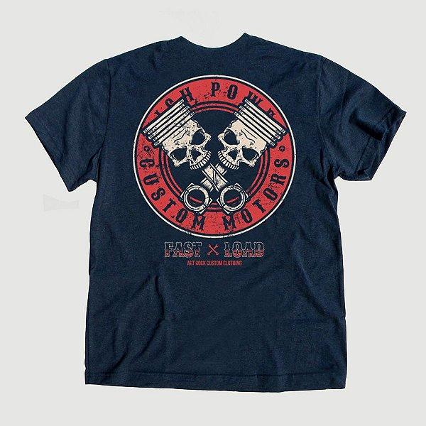 Camiseta Juvenil Piston Skull Marinho Indigo.