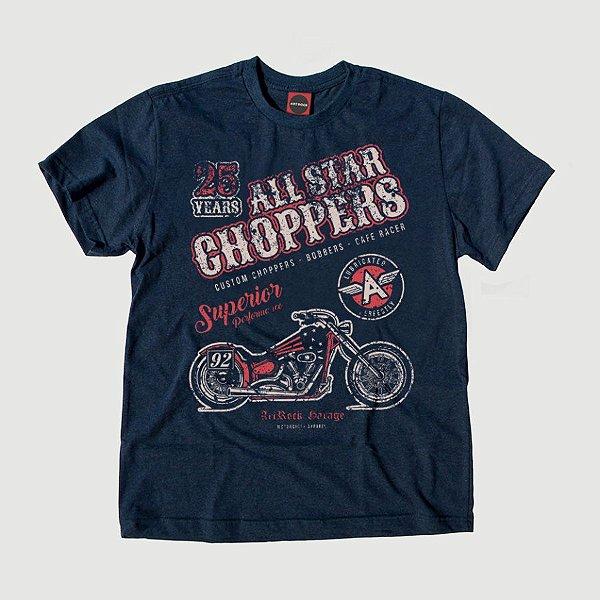 Camiseta Juvenil Moto All Star Choppers Marinho Indigo.