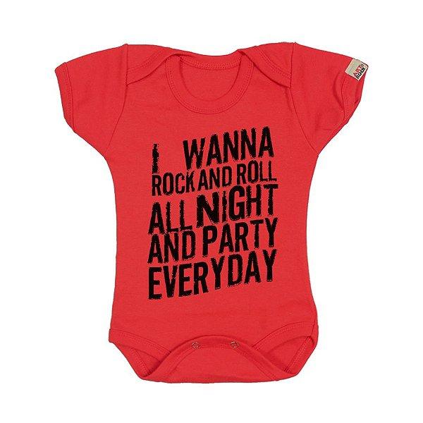 Body Bebê Kiss Rock All Night Vermelho