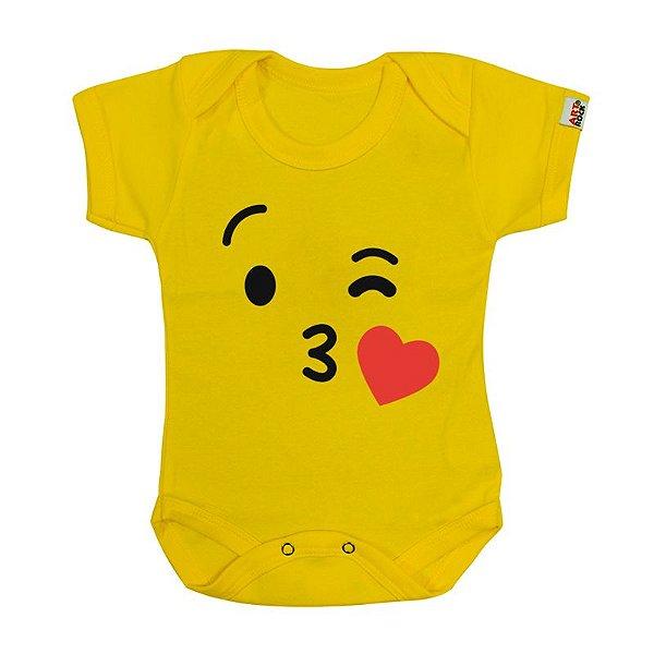 Body Bebê Emoji Kiss Amarelo
