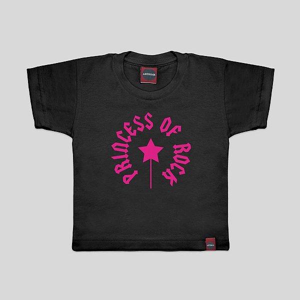 Camiseta Infantil Princesa do Rock Preta