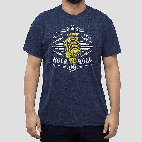 Camiseta Rock Microfone Gold Marinho Indigo.