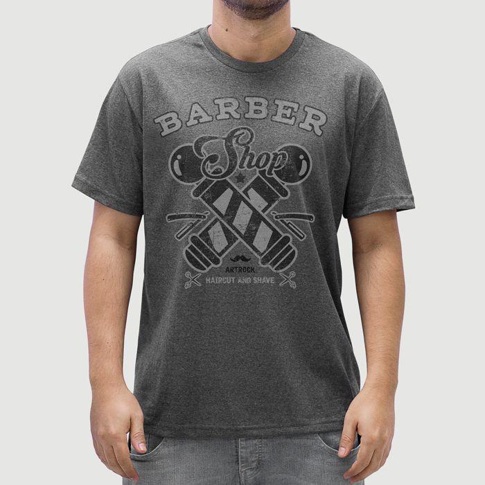 Camiseta Barbearia Barber Shop Grafite.