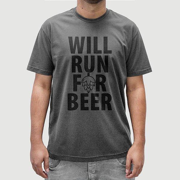 Camiseta Cerveja Run Beer Cinza Chumbo.