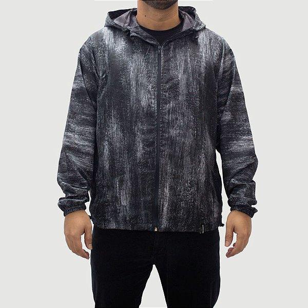 Corta Vento Com Capuz Textura Preto