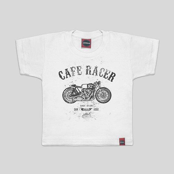 Camiseta Infantil Moto Cafe Racer Branca