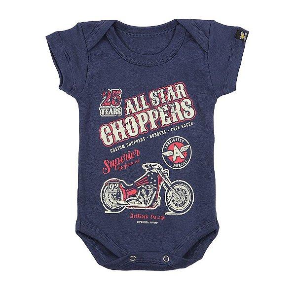Body Bebê Moto All Star Choppers Marinho