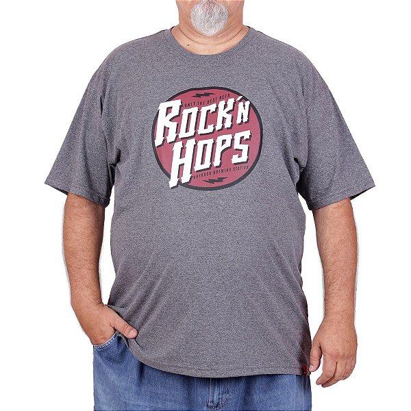 Camiseta Plus Size Cerveja Rock Hops Grafite.