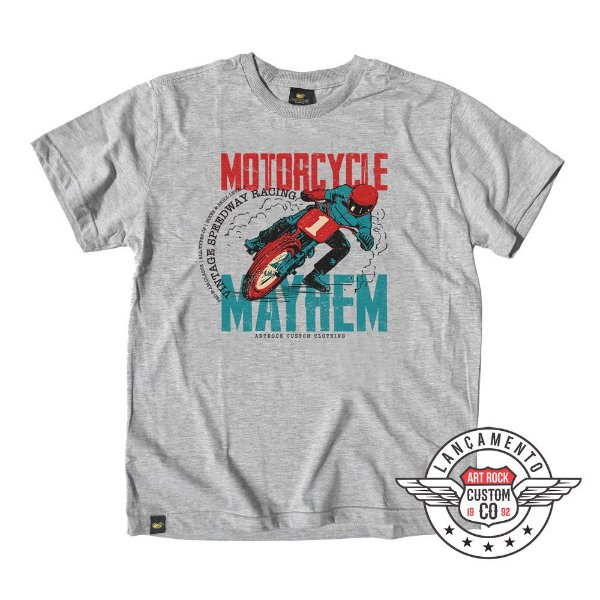 Camiseta Plus Size Moto Mayhem Cinza Mescla.