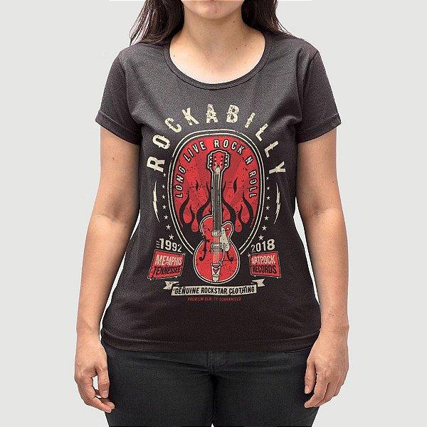 Camiseta Feminina Rock Long Live Preta Jaguar