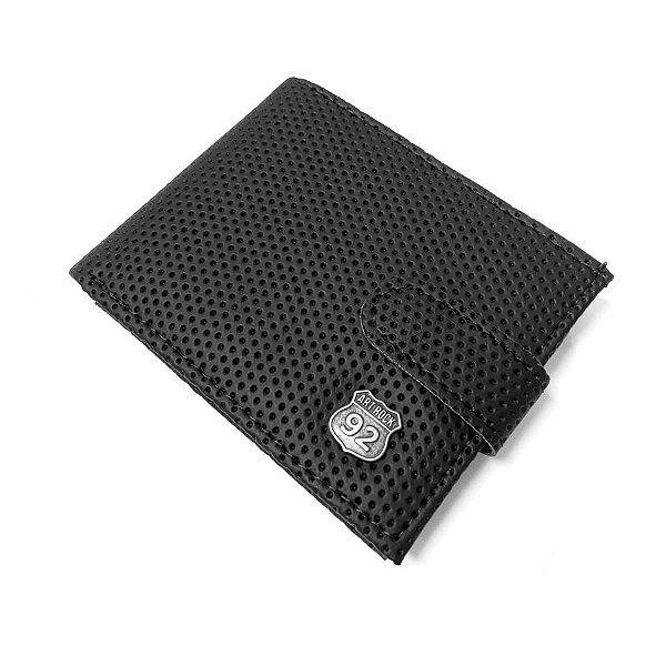 Carteira Botão Metal Textura ArtRock Preta