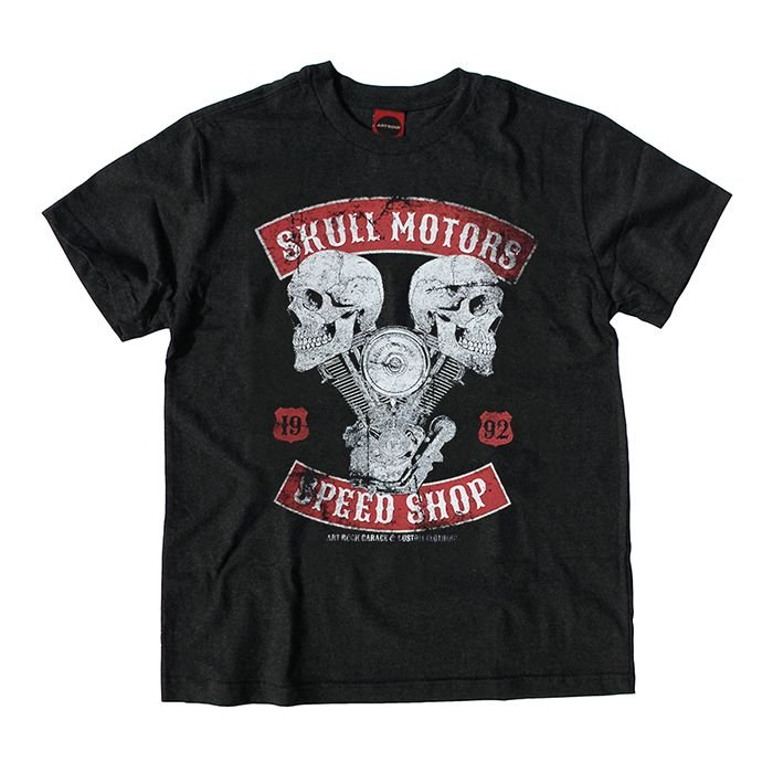 Camiseta Juvenil Moto Skull Motors Preta Jaguar.