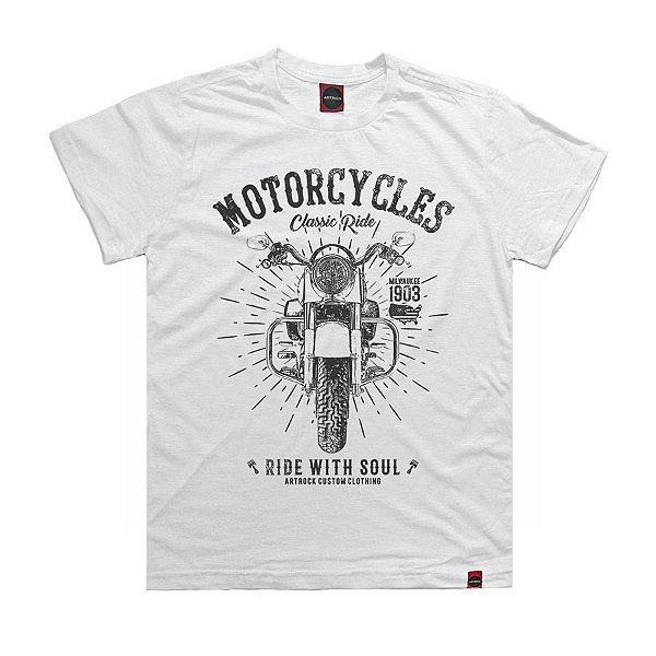 Camiseta Juvenil Moto Ride Branca.