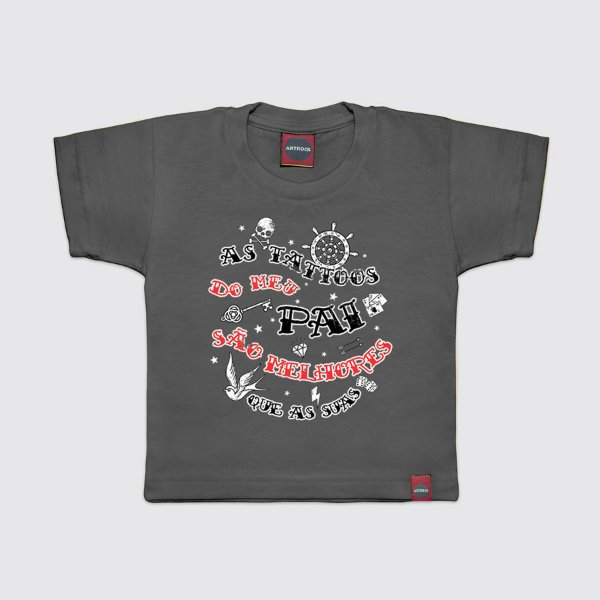Camiseta Infantil Tattoos do Papai Cinza