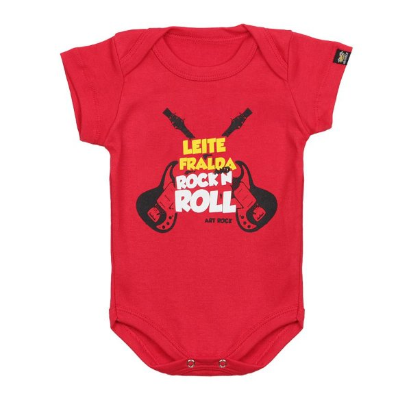 Body Bebê Leite Fralda e Rock N Roll Vermelho