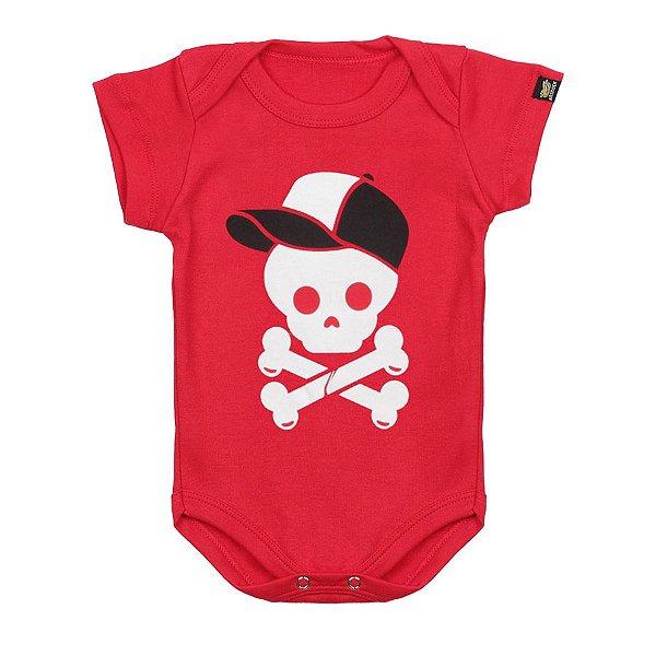 Body Bebê Caveira Boné Vermelho