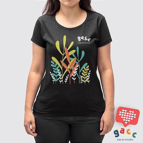 Camiseta Feminina Gacc  Jardim Preta