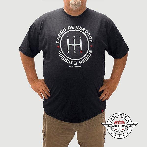 Camiseta Plus Size Câmbio Manual Preta.