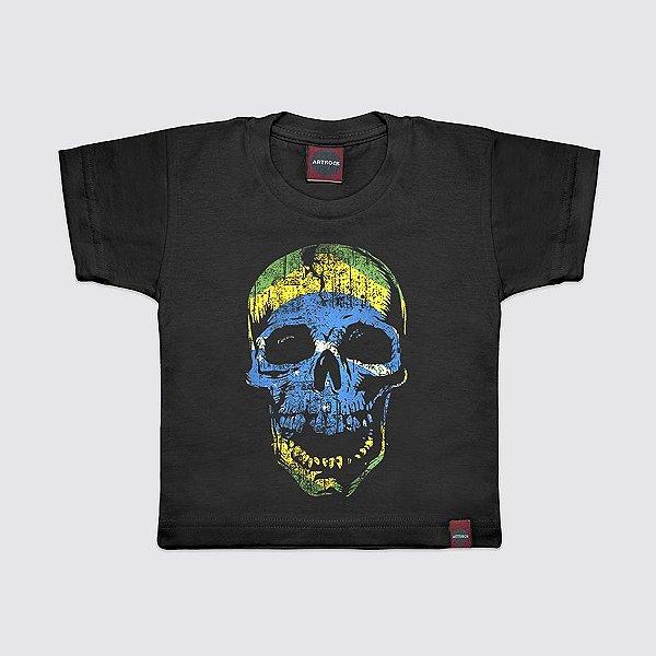 Camiseta Infantil Skull Flag Preta