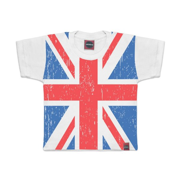 Camiseta Infantil Bandeira Reino Unido Branca