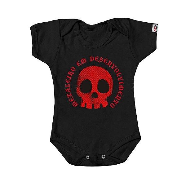 Body Bebê Metaleiro Preto