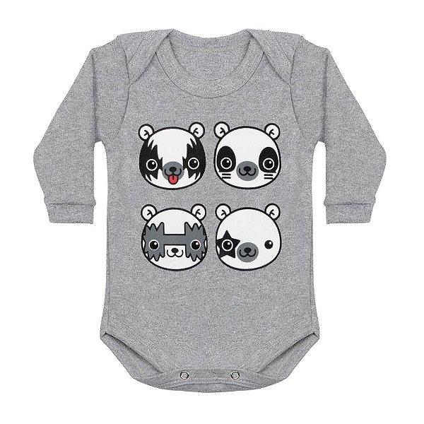 Body Bebê Manga Longa Kiss Bear Mescla
