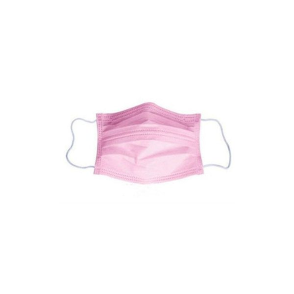 Máscara descartável tripla com elástico (rosa)