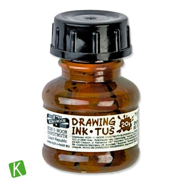 Tinta Drawing Ink para Caligrafia Koh-I-Noor Sépia 20g