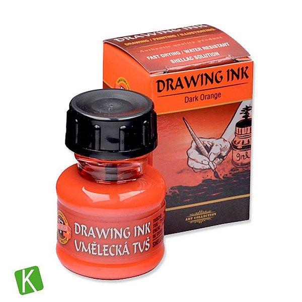 Tinta Drawing Ink para Caligrafia Koh-I-Noor Laranja Escuro 20g