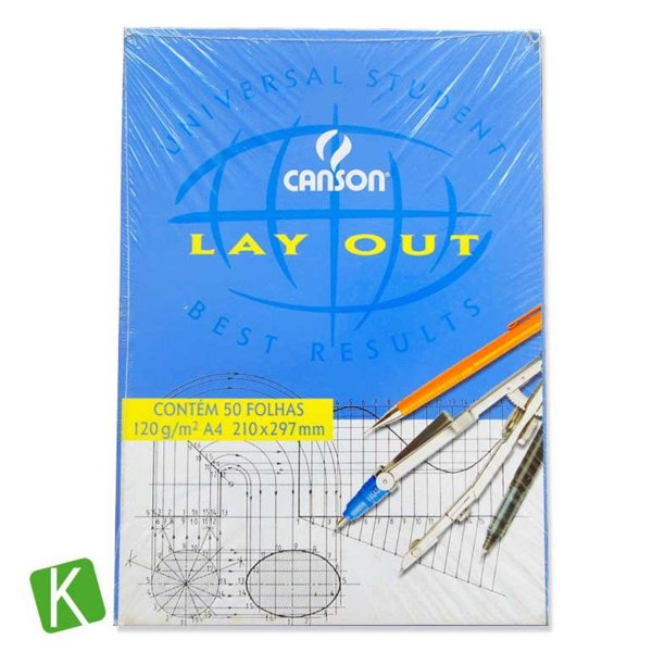 Bloco Papel Canson Layout A4 120g/m² 50 Folhas