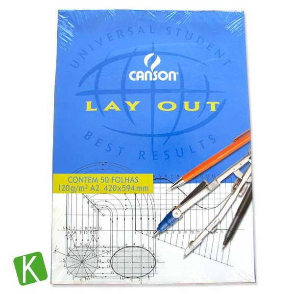 Bloco Papel Canson Layout A2 120g/m² 50 Folhas