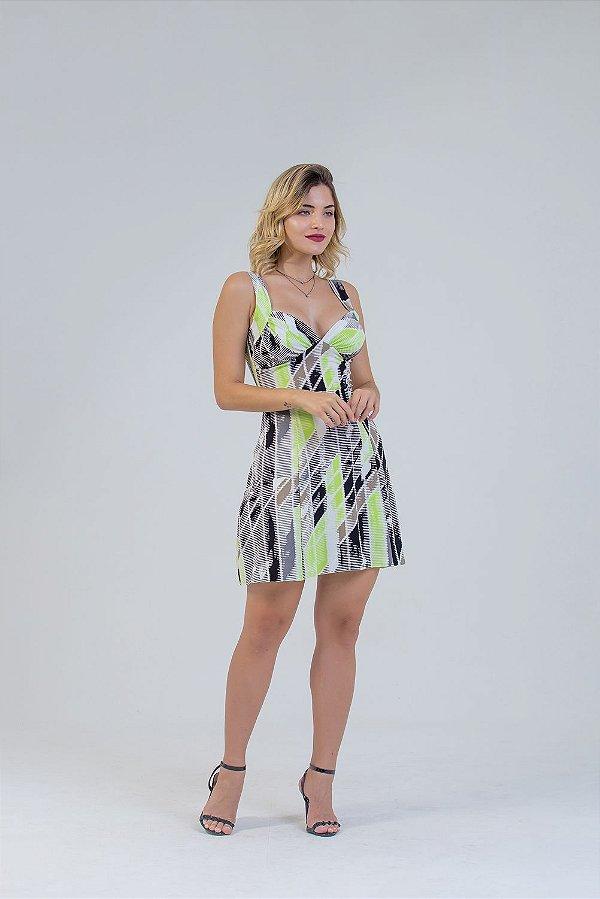 vestido estampado evasê