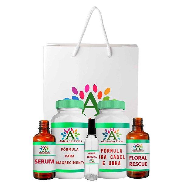 Kit Aldeia das Ervas - Cabelo e Unha, Emagrecimento, Serum e Floral + Brinde