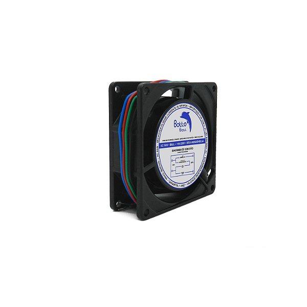 Micro ventilador AC Fan 80x80x25mm Bivolt 110/220V Alta Rotação Ball/Rolamento | Botto Brazil