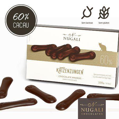 Língua de Gato Katzenzungen chocolate amargo 60% cacau Nugali 100g