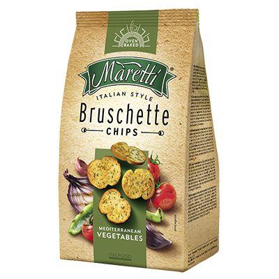 Bruschetta Chips Maretti sabor de vegetais mediterrâneos 85g