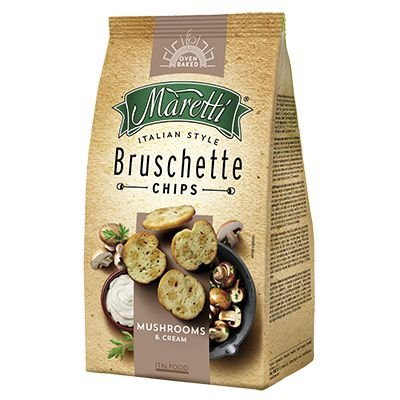 Bruschetta Chips Maretti com cogumelos e creme 85g