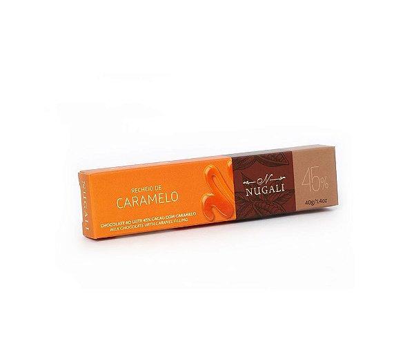 Chocolate ao Leite 45% Cacau com Recheio de Caramelo 40g Nugali