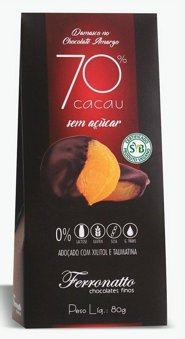 Damasco no Chocolate Amargo 70% cacau Zero Açúcar 80g Ferronatto