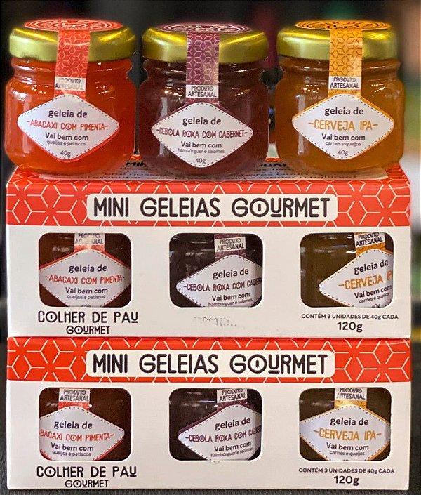 Kit Mini Geleias Gourmet com 3 sabores Colher de Pau Gourmet