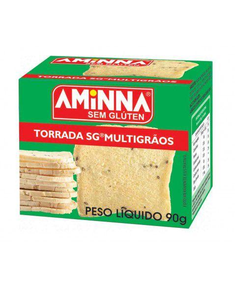 Torrada sem glúten Multigrãos 90g Aminna