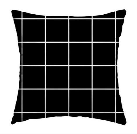 Capa de Almofada Grid Preto 45x45cm
