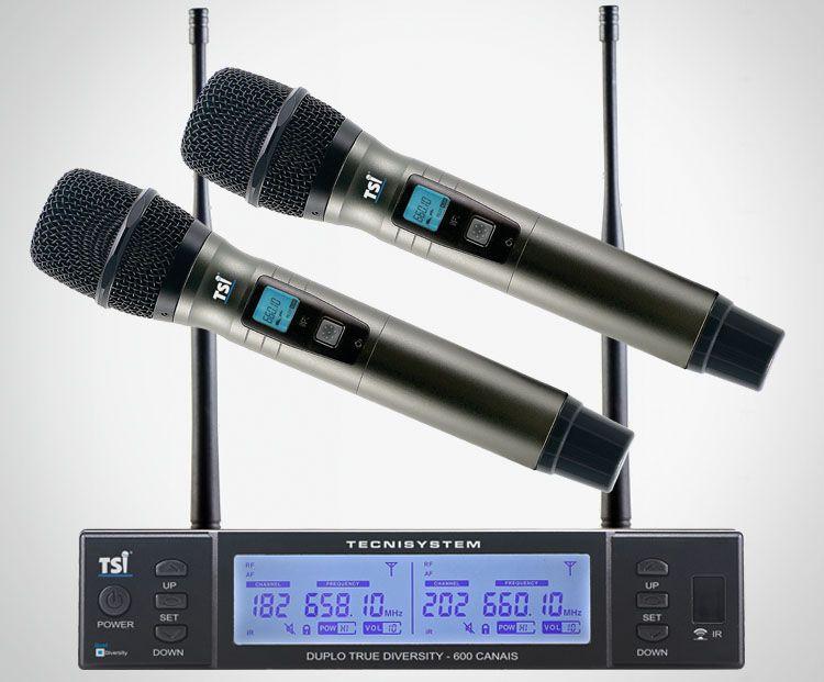 Microfone sem fio duplo TSI-BR8000 UHF