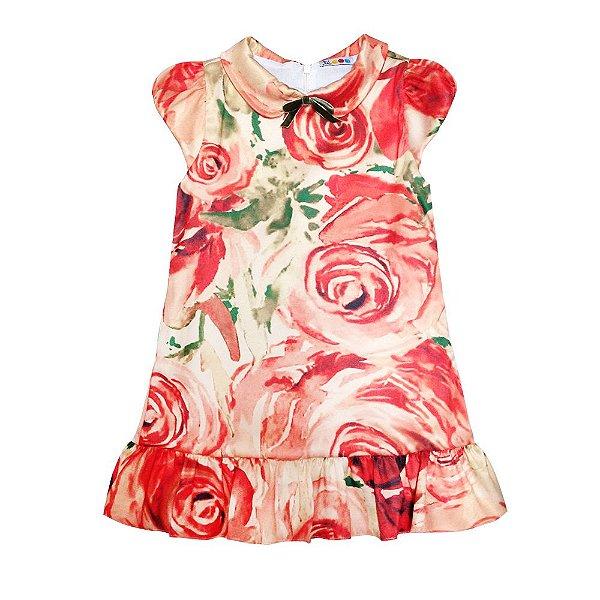 Vestido Gola Boneca Flores