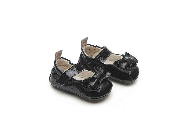 Sapatinho Newborn Patent Black